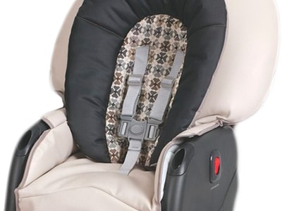 a padded high chair seat with safety harness