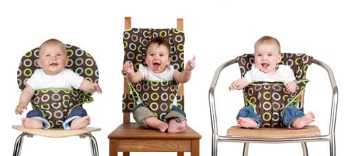 fabric high chair wrapped around different types of chairs