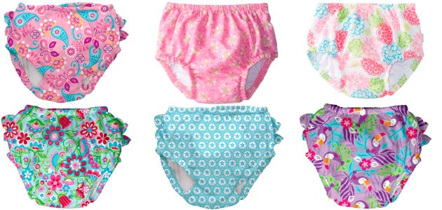 girls swim diapers in different patterns and colors