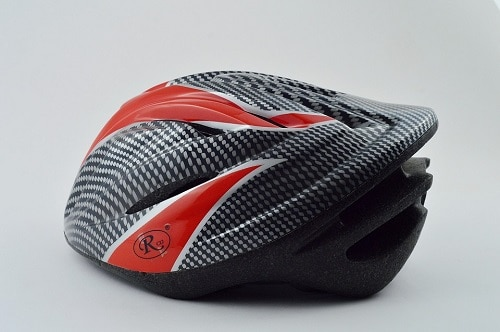 black and red color of helmet