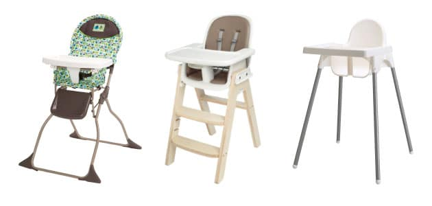 three different high chair designs in wood plastic and metal