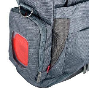 easy access baby wipe pocket on gray diaper bag