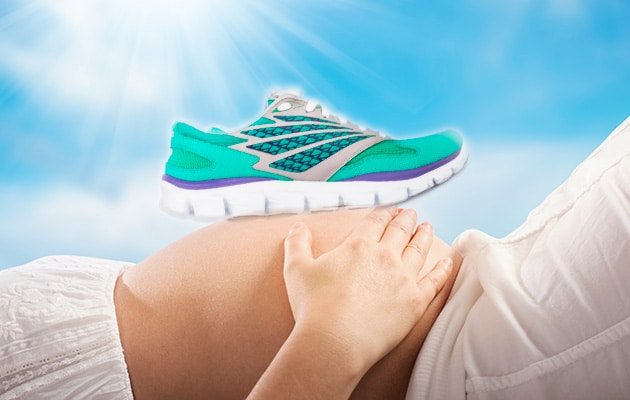 5b4a326f19c58 a shoe resting on a pregnant woman's stomach. The perfect shoe can feel like  ...