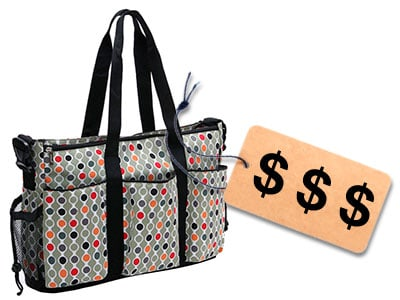 diaper bag with price tag