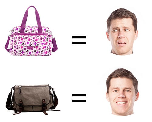man happy and disgusted face by different style of diaper bags