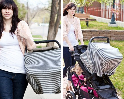 The breastfeeding poncho also turns into a carseat cover