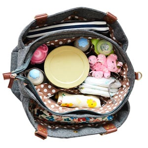 organized diaper bag with baby gear neatly packed inside
