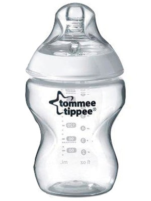 tome tipped plastic baby bottle for breast fed babies