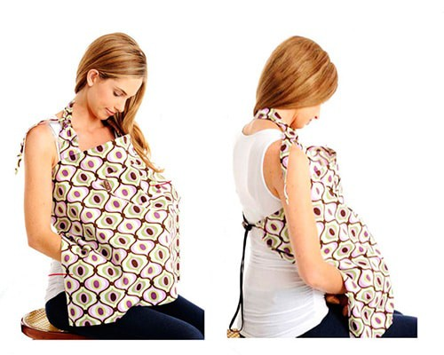 woman breastfeeding with canopy nursing cover different angles