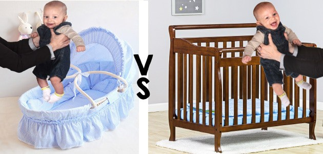 placing a baby in side a bassinet vs crib