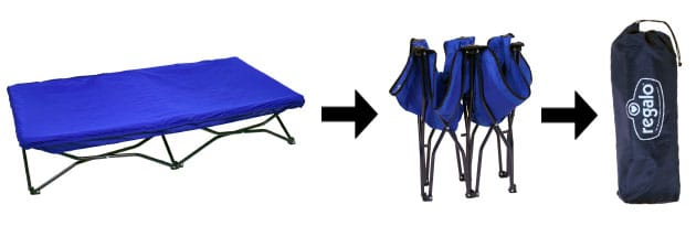 blue fold up toddler bed packed into bag