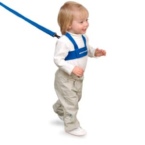 child walking around on toddler leash