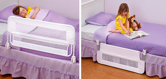fold down toddler bed rail in up and down position