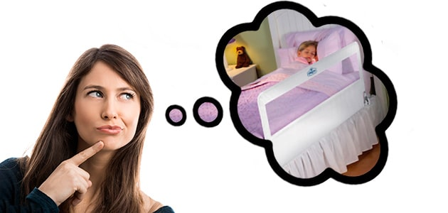 mom thinking about a toddler bed rail