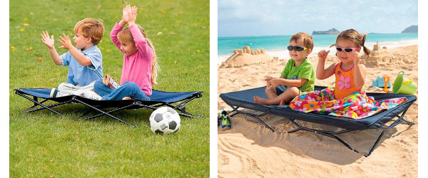 portable toddler bed being used at beach and park