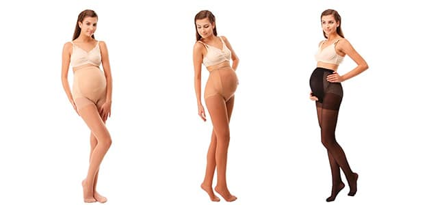 three pregnant moms wearing compression stockings in different colors