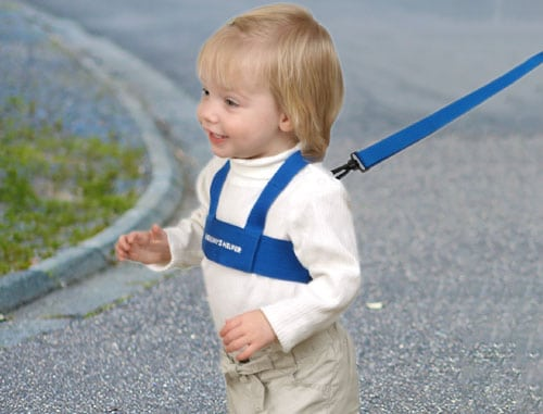 toddler strapped into safety harness crossing the road