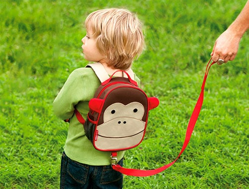 toddler wearing a backpack harness attached to a leash