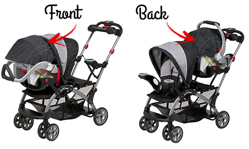 Baby Trend Sit N Stand ultra with infant seat in front and back