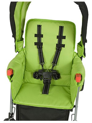 Front seat of the joovy caboose sit and stand stroller in green