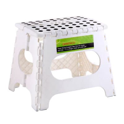 Greenco super strong foldable step chair in white
