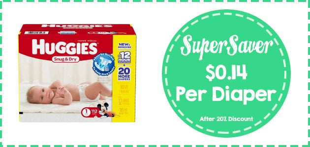 huggies snug and dry diapers size 1 - 112 count coupon