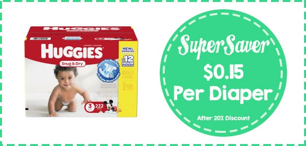 Huggies snug and dry diapers size 3 - 22 count coupon