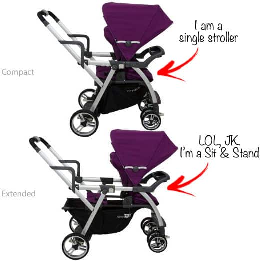 Joovy VaryLight Sit and Stand - Compact and Extended Comparison