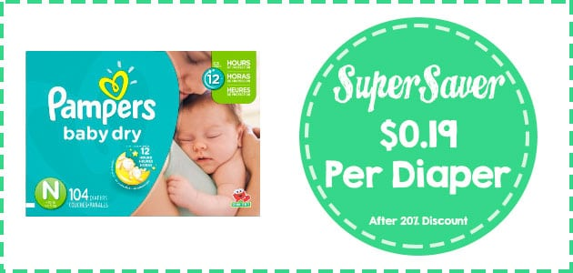 Discount for Pmapers Baby Dry Diapers Super Pack Newvborn size 104 count