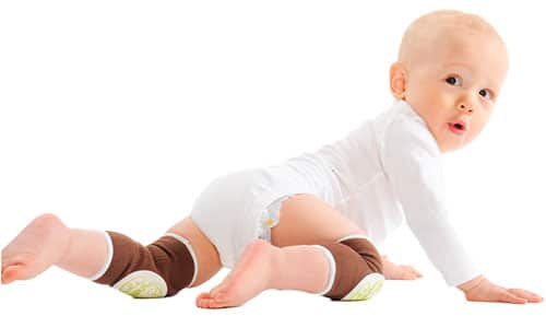 baby crawling across the floor wearing knee pads