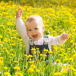 baby playing in field of flowers