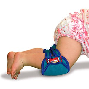 babt wearing knee pads while crawling