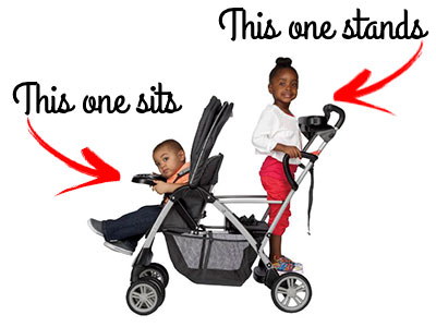 kids sitting and standing on stroller