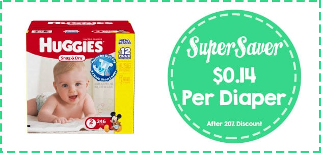 Huggies snug and dry size 2-246 count  coupon