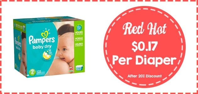 Pampers baby dry size 2 222 count discount coupon