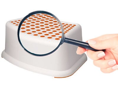 Step Stool Non-Slip Rubber Through A Magnifying Glass