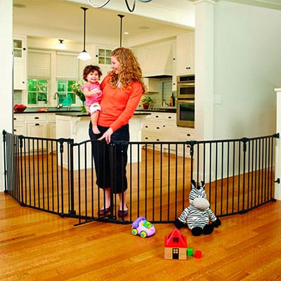 North States upergate 3-in01 play yard installed on uneven walls