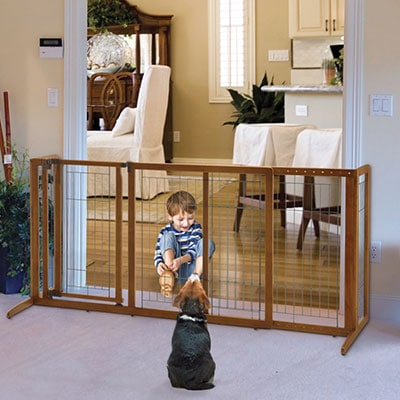 Richell duxlux free standing wooden baby gate