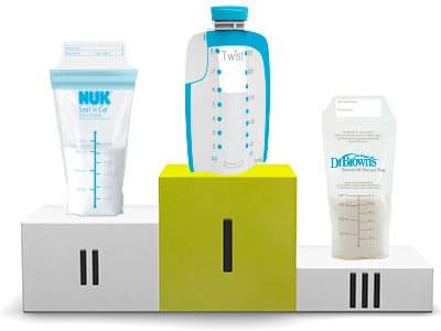 best breast milk storage bag winners on podium