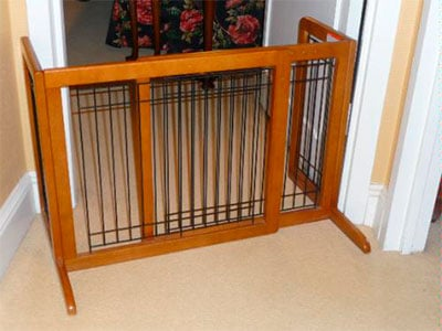 free standing baby gate blocking off door way