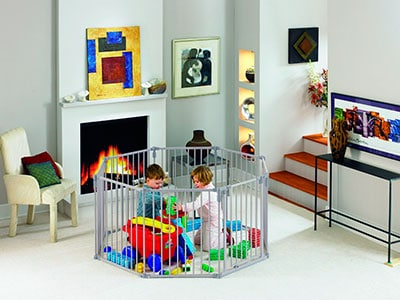 Norths tates superyard baby gate being used as a play pen