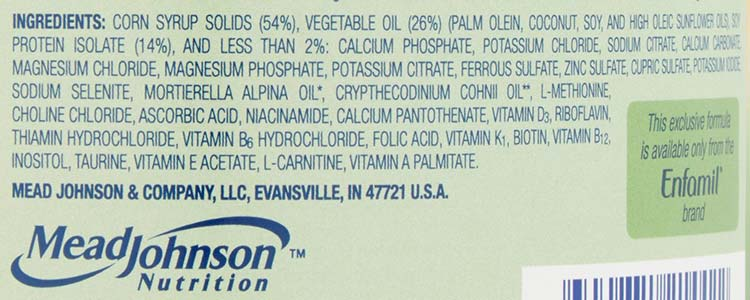 ingredients found in soy formula for babies