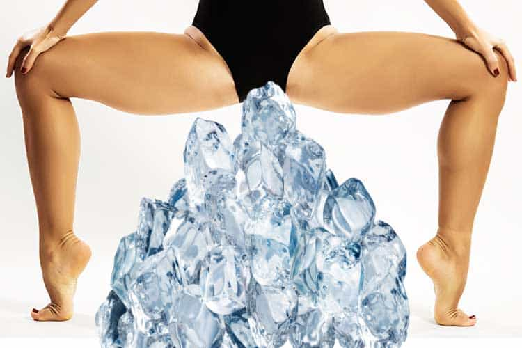 lady with ice on her perineum