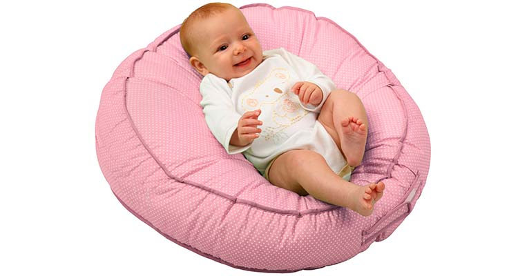 Pink Leachco Podster Infant Lounger With Baby Resting