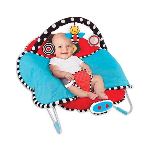 sassy cuddle bug bouncer open blanket - best baby bouncer
