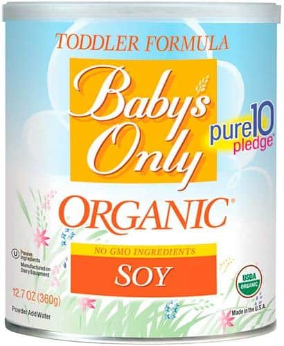 tin of babys only organic soy formula with non gmo ingredients