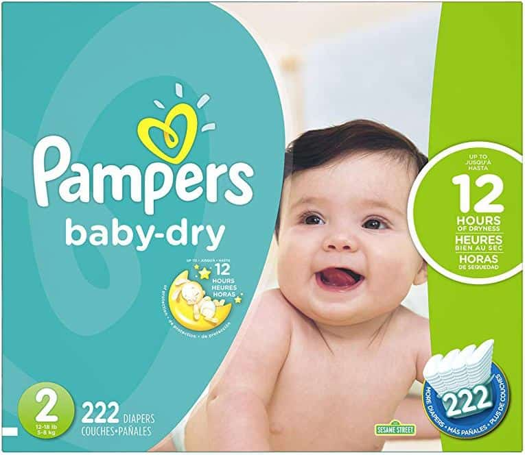 Pampers Baby Dry Diapers - Size 2 - 222 Count