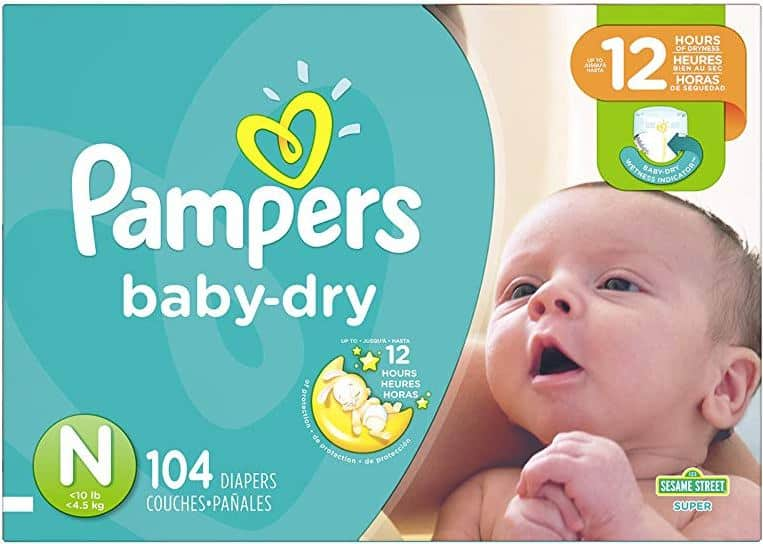 Pampers Baby Dry Diapers - Size N (Newborn) - 104 Count