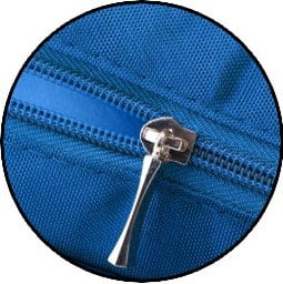 close up of a zipper on a diaper bag