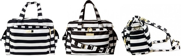 convertible diaper bag in black and white stripes turns into messenger, tote or backpack